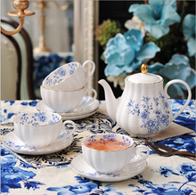 Hot sell European style popular ceramic porcelain tea set with decal