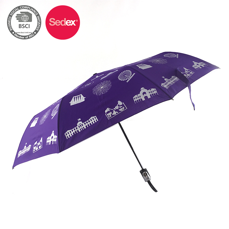 Digital Printing Traditional Type 3Folded Rain Umbrella