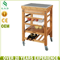 wholesale new design bamboo kitchen trolley with baskets prices