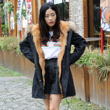 CX-G-P-12G Raccoon Fur Hooded Women Black Cotton Jacket with Fox Fur Lining
