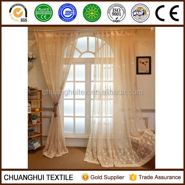 new arrival beige embroidered elegant drapes curtains