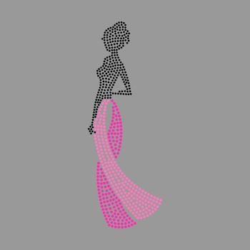 Pink Afro Lady Rhinestone Transfer Design Iron on Bling Breast Cancer Glitter Rhinestone Applique for Women's T shirt