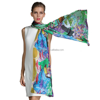 Silk Satin Art Scarf And Shawl