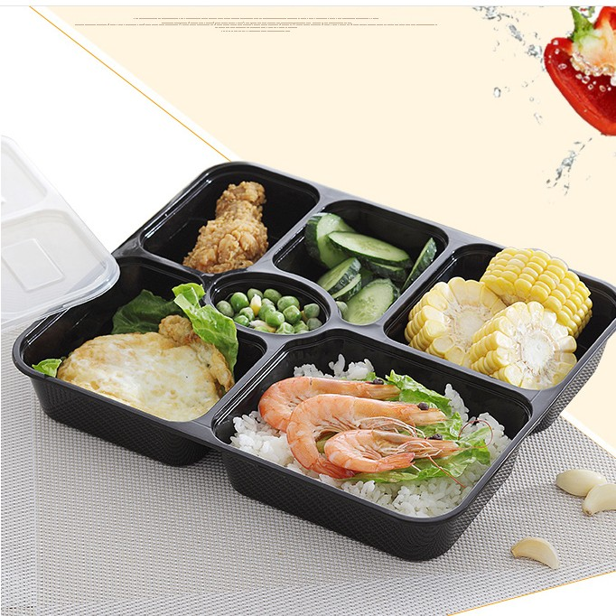 4-compartment Bento Lunch Box,Disposable Safe Plastic Food Container