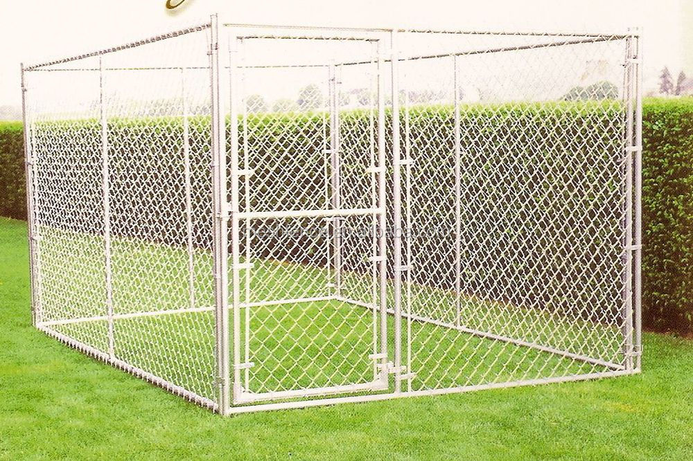 Big dog use metal welded chain link wire out door dog for Huge dog pen