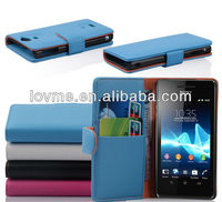 Folding Flip Wallet Case Stand magnetic For Sony LT25i