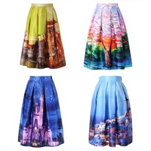 Walson Walson instyles High Waist Tutu Skirts Women Vintage Fairy Tales Landscape Printed Ball Gown Midi Skirt