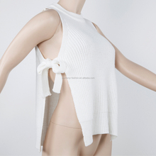 Spring/summer 100% acrylic sexy ladies' round neck sleeveless side seam split and bandage pullover sweater