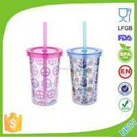 Customized Double Wall Clear Plastic Cup with Lid and Straw