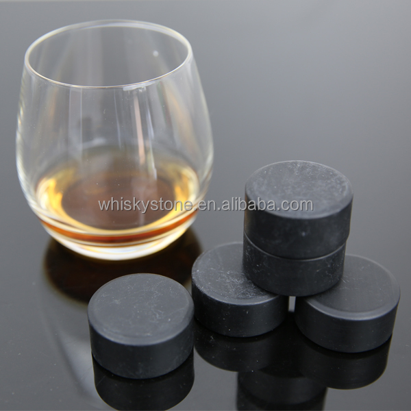 Black Natural Whiskey Stones Ice Cube Drink Chiller Whisky Disk