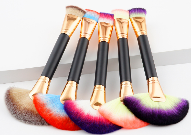 1pcs colorful double hair fan brush foundation brush single synthetic make up brush