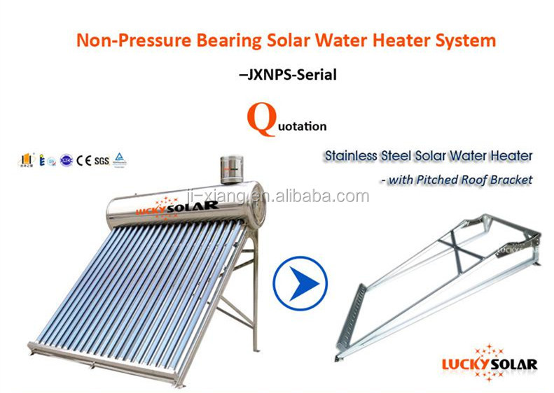 Unpressurized non low pressure bearing three target vacuum tubes solar water heater for hot water bathe Solar Energy Panel