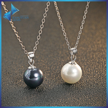 925 silver simple design artificial pearl necklace