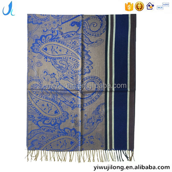 OEM classic paisley and stripe design jeans feel jacquard pashmina scarf