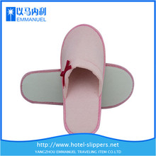 cut pink disposable terry closed toe hotel slipper