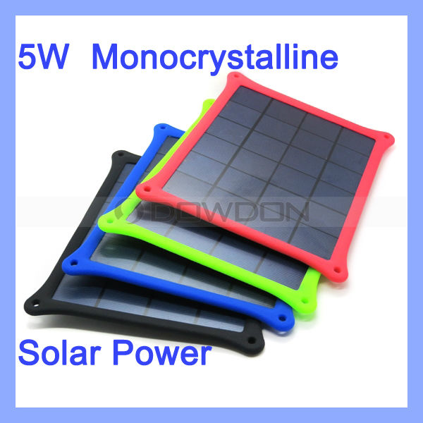 5W Monocrystalline Silicon Solar Panel Charger for iPhone Samsung