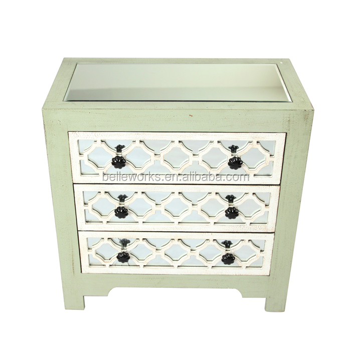 Europe Antique Mirrored End Table ,3drawer chest
