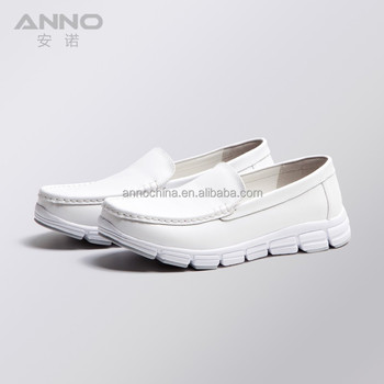 ANNO Nurse Mate Shoes Mens White Leather Nurse Shoes