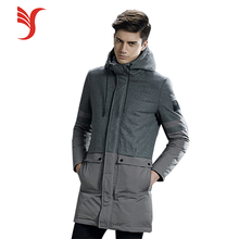 Fashion design joint hooded keep warm long down jacket for women