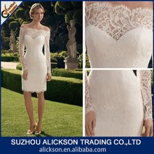 Illusion Off Shoulder Lace Knee Length Simple Wedding Dress Long Sleeve