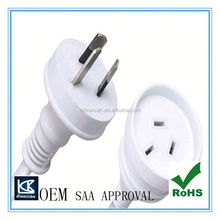 Top quality 3 prong 15 white extention cords AC Power Cord,Low Voltage Type and C13 connector Female End Type saa power cords