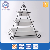 Three layer different sizes ceramic bakeware with iron stand
