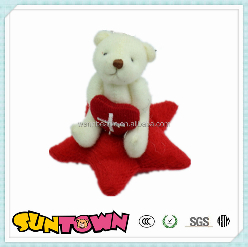Cutomized bear with star and embroidery, children bear toy, stuffed animal plush toys