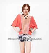 newest hot sale korea fashion batwing t-shirt for lady,pink and orange stripe upper clothes