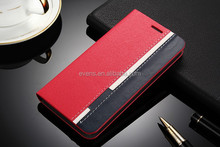 Contrast color Fashion PU Leather Wallet Flip Mobile Phone Case Cover For Lenovo S750