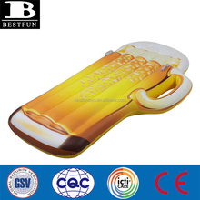 heavy duty vivnyl giant inflatable beer mug pool float durable plastic bright blow up beer mug water lounge bed mattress