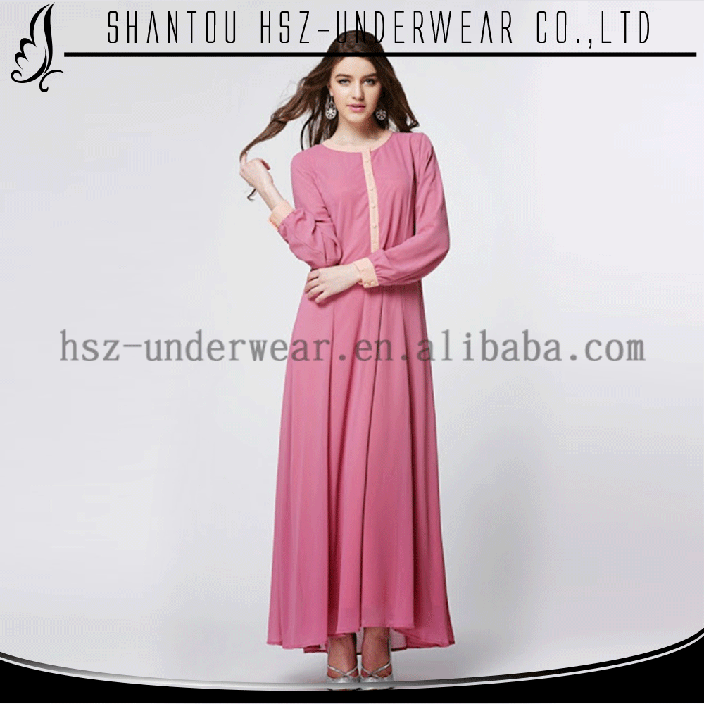 Zakiyyah MD A007 Muslim Clothing Wholesale from Uae Front Open Pure Color Abaya with Botton Maxi Dresses