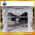 Elegant White Jade Marble Fireplace with Angel Carving