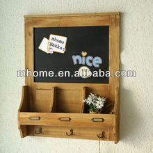 Japan Zakka style solid wood wall hanging message board with 3 hooks