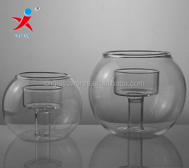 Double wall glass candle holder Or for fish jar