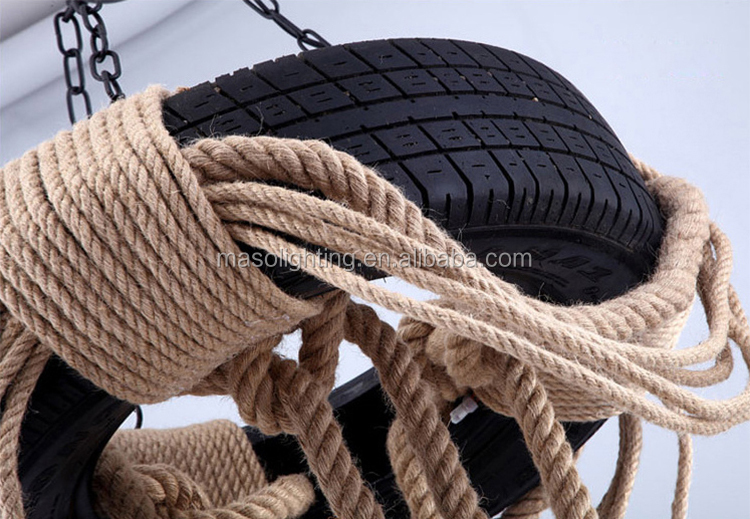 Antique round tyre chandelierlamps hemp rope pendant lamp vintage decor for bar bulb chandelier lighting