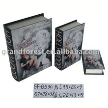 High Quality MARILYN MONROE Designed WOODEN BOOK BOX Cover the Canavas
