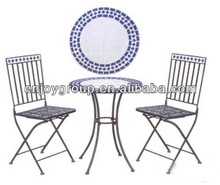 Outdoor Garden Wrought Iron Tables And Chairs Mosaic Bistro Set