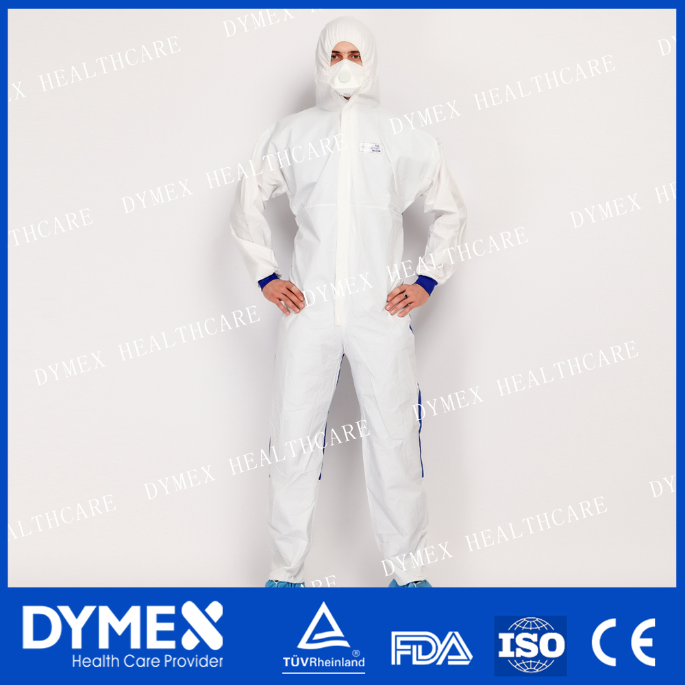 Protective Non-Sterile Disposable Hooded Coverall with SMS Back With Tape And Anti Slip Shoe