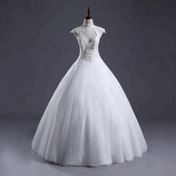 2018 New White Sheath ball gown Wedding Dresses Capped Sleeves sexy back  beaded Wholesale  Robe de Mariage Wedding Dresses