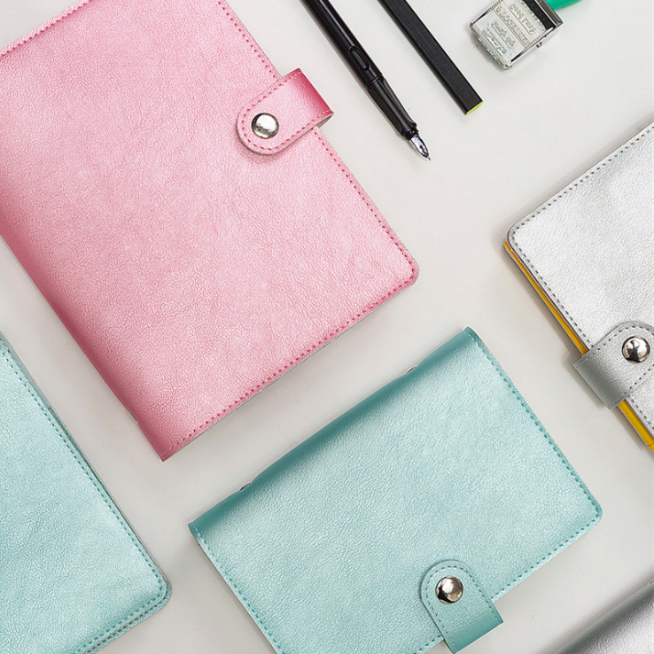 Metallic color A6 loose-leaf planner customizable notebook fashion daily notebook PU cover with metal clip/clasp /pen holder