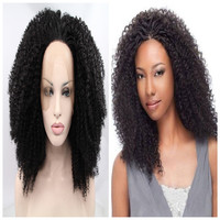high quality natural black wig short kinky curly wig for black women synthetic lace front wig heat resistant
