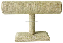 67711B Burlap One Tier T-Bar Bracelet Bangle Jewelry Display Stand 9""