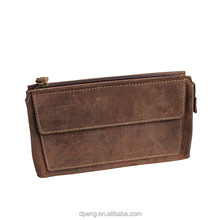 High Quality Men's Travel hard Clutch Bag Custom Genuine cowhide Leather Wallet
