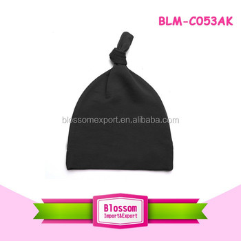 Fashion accessories Cotton Adjustable one Knot Hats Unisex Warm black Beanie Cap bonnet Newborn print your own design hat 0-24m