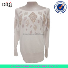 Women solid color sweater slash neck pullover sweater in stones