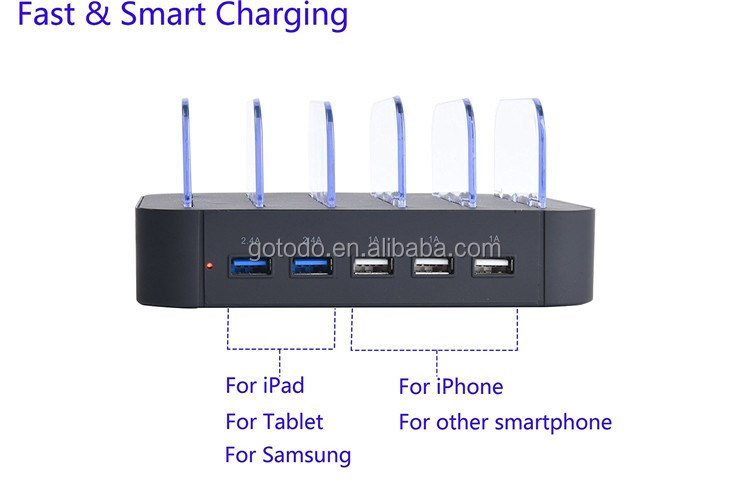 5 port usb charger multi port fast charging box for mobile phone charging stand