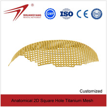 Anatomical 2D square hole orthopedic cranial titanium mesh from shuangyang