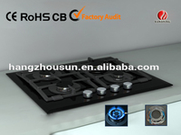 gas hob with glass panel