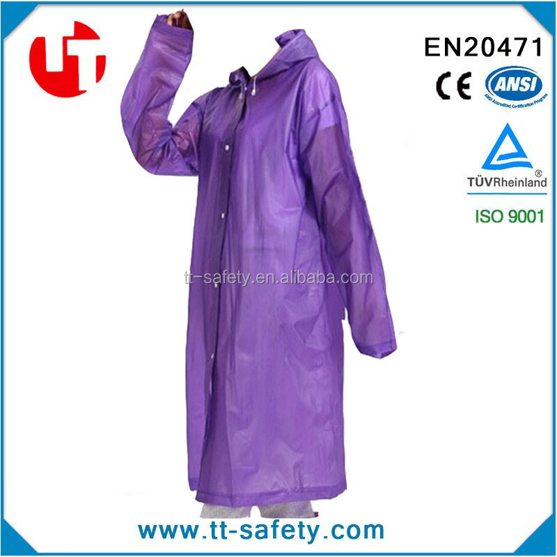 mens or women transparent long hooded adult pvc poncho and pvc raincoat