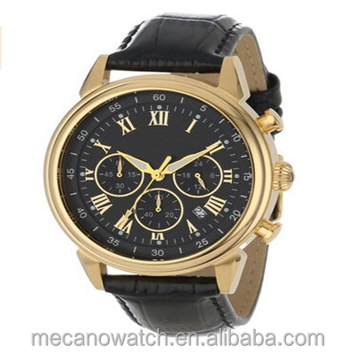 Men's Stainless Steel Watch With Black Leather Band Chronograph Dress Watch